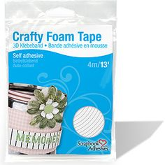 HANDS DOWN- THE BEST EVER!!!  <3 this stuff!    Crafty Foam Tape, White - 13' of high density high-tack double-sided foam tape perfect for adding dimension to larger projects. This high-density 3D Foam Tape will ensure strong permanence, ease-of-use, and great dimension for any scrapbook page or paper craft.