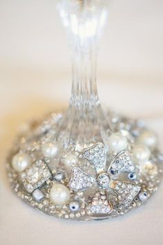 for wine glasses. Maybe make some for the wedding table/bridesmaids gifts? Dollar store wine glasses + some bling! Crafty Craft, Crafting, Diy Wine Glasses, Champagne Glasses, Wedding Glasses, Do It Yourself Design, Diy And Crafts, Arts And Crafts, Little Presents