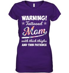 Warning Tattooed Mom With Thick Funny V Neck T Shirts For Womens Outfits Funny Neck T Shirts Dress