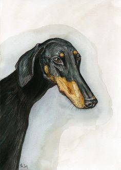 A Little Touched  Doberman Dog Art Print by AlmostAnAngel66, £15.00