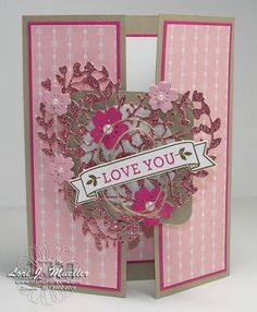 Stampin' Up! Valentine Love Cards, Happy Valentines Day, Wedding Anniversary Cards, Wedding Cards, Card Making Inspiration, Making Ideas, Bloomin Love Stampin Up, Fancy Fold Cards, Stamping Up Cards