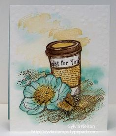Just For You...A Day at the Shore...Coffee...Beautiful Flower..Tropical Paradise..blank inside...Stampin'Up stamps...water color...embossed!