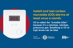 """Install and test CO alarms"" graphic  for Twitter – USFA*"