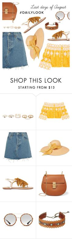 """""""Last days of August"""" by dressedbyrose ❤ liked on Polyvore featuring LULUS, Miguelina, RE/DONE, Sensi Studio, Aquazzura, Chloé, Gucci, Leatherock, Summer and polyvoreeditorial"""