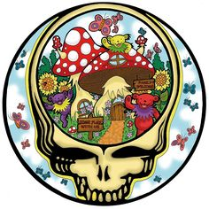 'Grateful Dead - Steal Your Face, Dancing Bears and Mushrooms' Sticker by Littledasypus Grateful Dead Tattoo, Grateful Dead Image, Grateful Dead Poster, Grateful Dead Dancing Bears, Grateful Dead Album Covers, Grateful Dead Quotes, Grateful Dead Wallpaper, Dead Images, Dead And Company