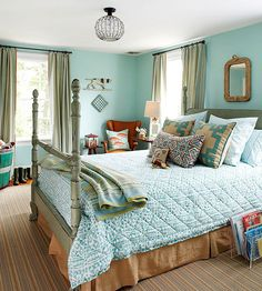 Eclectic and Welcoming... especially the use of colors! Adore the calming wall color; perfect for a tranquil bedroom!