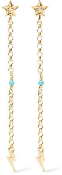 IAM by Ileana Makri - Star Thunder Gold-plated Cubic Zirconia And Turquoise Earrings - one size