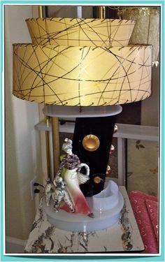 "Moss radio lamp with Hedi Schoop ""Poodle Girl"" Funky Lamps, Funky Lighting, Vintage Lighting, Modern Vintage Decor, Vintage Lamps, I Like Lamp, Mid Century Modern Lighting, A Table, Table Lamps"