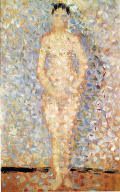 "Poseur standing, front view, study for ""Les poseuses"" by @georgesseurat #pointillism"