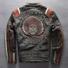 Mans Genuine Cowhide Leather Motorcycle Rider Jacket Embroidery Leather Jacket  #Affliction #Casual