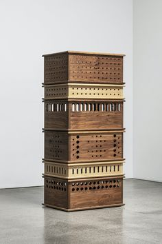 Storing boxes made of solid walnut and oak
