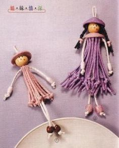 muñecas5 Más Doll Crafts, Diy Doll, Yarn Crafts, Bead Crafts, Button Crafts, Lace Making, Fairy Dolls, Wooden Beads, Crafts To Make