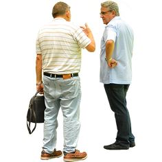 Two old or middle age men standing and griping about whatever men of a certain age gripe about.