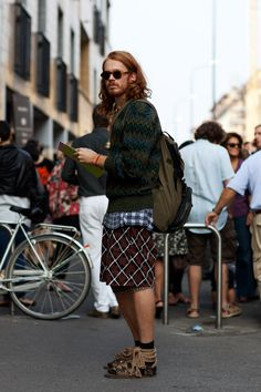 The Sartorialist - Part 49 Jesus Sandals, Socks And Sandals, Sartorialist, Navy And Brown, Mixing Prints, Stylish Men, Missoni, Dapper, Personal Style