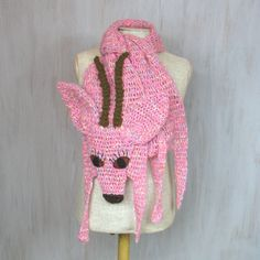 Soft and nice pink antelope — made by me, made of soft pink yarn (wool + acrylic) and brown acrylic, with huge polyfelt eyes. Fantastic!   Length with