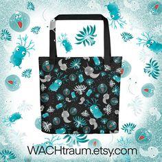 """Tragetasche - Plankton - Winzige Tierchen und Pflanzen im Ozean - Grösse ca. 38x38cm (15"""" x 15"""") von WACHtraum auf Etsy Fossil, Floating, Clipart, Reusable Tote Bags, Etsy, Plants, Animals, Products, Ocean"""