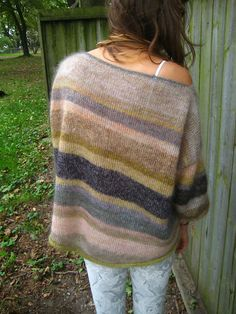 Ravelry: Violaviola's Indecision, a boxy pullover with wide, cropped sleeves and drop shoulders. Designer improvised using lace weight mohair doubled stranded - sometimes mixing two colors. Also added some short rows to the back for a bit of extra fullness.