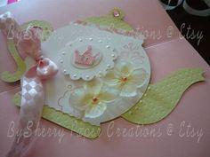 Boutique Custom Princess Tea Party /Tea Pot Invitations Set of 12