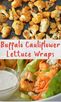Buffalo chicken goes plant-based with these tasty buffalo cauliflower lettuce wraps. All your favorite buffalo wing flavors - buffalo sauce, celery, carrots and blue cheese - get wrapped up for a crowd-pleasing appetizer. Chicken Cauliflower, Cauliflower Steaks, Buffalo Cauliflower, Healthy Appetizers, Appetizer Recipes, Buffalo Recipe, Game Day Food, Lettuce Wraps, Food For A Crowd