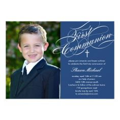 Stylish Script First Communion Invitation - Blue