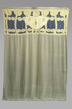 """Ann Macbeth (1875-1948) - Silk and Linen Portiere. Embroidered and Appliqued Stylized Flowers. Circa 1900. 102"""" x 69""""."""