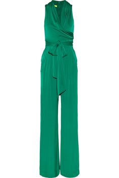 This would be great for a holiday party with silver shoes and a sparkly bracelet! forCatherine Malandrino|Stretch silk-blend jumpsuit|NET-A-PORTER.COM