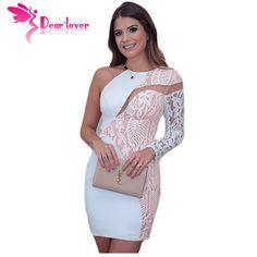 Dear Lover Autumn Party Dresses White Lace Cutout One Shoulder Mini Dress for Women Night Clothes Vestidos Brancos 2016 LC22817
