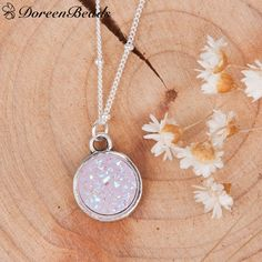 ~ Druzy Necklace ~ Round ~ Light Pink Pendant ~