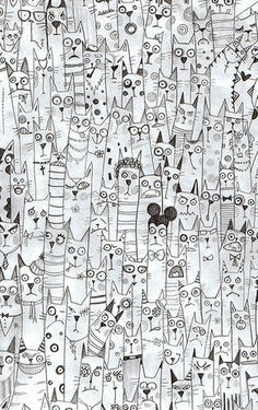 cat zentangles, love it!