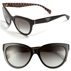 Prada 'Timeless Phantos' 55mm Sunglasses ($230) ❤ liked on Polyvore featuring accessories, eyewear, sunglasses, glasses, prada, prada glasses, prada eyewear, gradient sunglasses, cat eye glasses and prada sunglasses