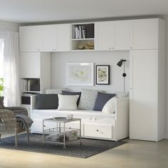 HEMNES day-bed with drawers under the wardrobe system makes small space bigger. You can easily transform this day-bed into a comfortable sofa or chaise longue.