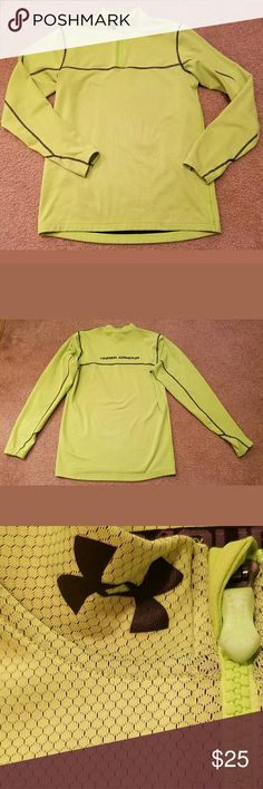 Under Armour Coldgear Fitted 1/4 Zip Pullover This is a really great pre-owned Under Armour Coldgear Fitted Mens 1/4 Zip Pullover Size MD. It is in good pre-owned condition. There are no holes, stains, rips , tears or pulls anywhere in the fabric. The zipper slides smoothly and easily. It is a neon green in. All measurements are pictured and taken unstretched. Please review all pictures carefully for condition and measurements.   Armpit to Armpit: 20 inches  Length: 29 inches Under Armour…