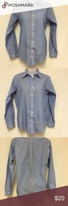 """Brooks Brothers Blue White Striped Shirt size 14 Brooks Brothers Blue White Striped Shirt size 14 non iron 100%cotton Measurements: Length 25 1/2"""" Shoulder 15"""" Chest 17"""" Sleeves 22"""" Hem 17 3/4"""" Cuff opening 3""""-3 1/2"""" We try to describe the product true to its condition. However, personal opinions about the product condition may vary. Please message us with any questions before buying. Some pre-owned clothing might have detergent odor due to washing Brooks Brothers Tops Button Down Shirts"""