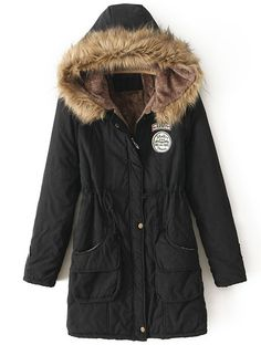 Black Faux Fur Hooded Drawstring Pockets Coat US$41.97