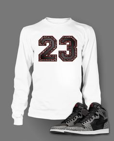 16a93fcea Long Sleeve Graphic T Shirt To Match Retro Air Jordan 1 Black Cement Shoe  Jordan 1