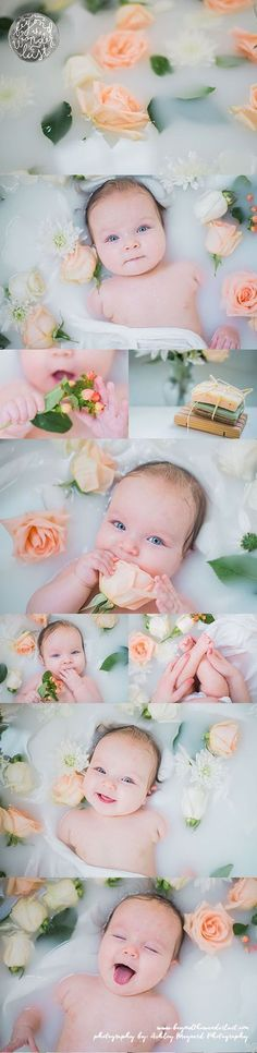 At RMG, we are still in love with the milk bath maternity and newborn photography trend. Check out this gorgeous peach and cream baby milk bath! Newborn Bebe, Foto Newborn, Newborn Shoot, Milk Bath Photography, Children Photography, Newborn Photography, Photography Flowers, Photography Ideas Kids, Portrait Photography