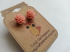 Floral Cabochon Earring10mm Blush Mum by CurlysOwlParliament, $3.00