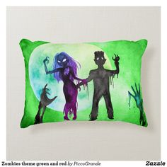 Zombies theme green and red accent pillow Soft Pillows, Accent Pillows, Throw Pillows, Zombie Illustration, Pale Moon, Red Accents, Red Background, Zombies, Home Deco