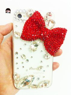 luxury red bling bling bow iphone case  | Iphone cases and covers