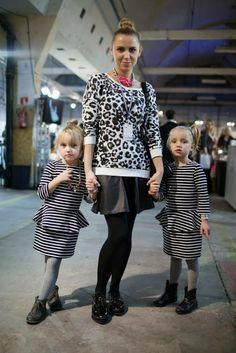 fashionweek poland, mom, twins, fashionkids, leopard print, peplum dress, stripes