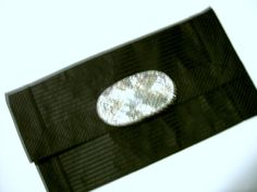 Clutch Purse Black Silver Sequined Accent USA by JunebugOriginals, $29.75