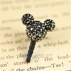 Hello there you cute cell phone charm! This crystal Mickey adorns your mobile phone, mp3 player, Kindle, iPad, Nook, or any other mobile electronic device with a 3.5mm earphone jack (standard earphone jack size). Simple yet classy, this dust plug /