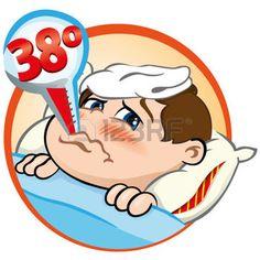 rhume cartoon: Illustration est un enfant malade au lit avec des symptômes de fièvre et un thermomètre dans sa bouche