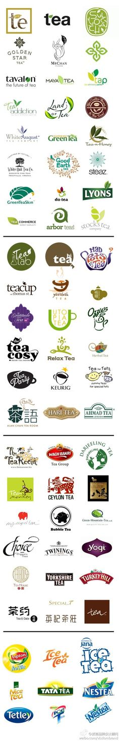 A great collection of tea logos for #packaging PD