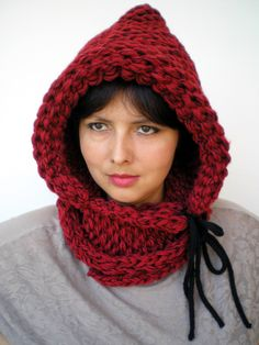 Red and Black Double Spirit Knit Hood Super soft wool Woman Reversible Hooded Cowl Chunky Hoodie. $75.00, via Etsy.