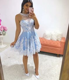 Gorgerous Blue Homecoming Dress Jewel Neck Lace Appliques Beaded Knee Length Formal Short Prom Evening Party Gowns sold by partdresses. Blue Homecoming Dresses, Grad Dresses, Cute Dresses, Dama Dresses, Quince Dresses, Champagne Dress, Evening Party Gowns, Applique Dress, Short Prom