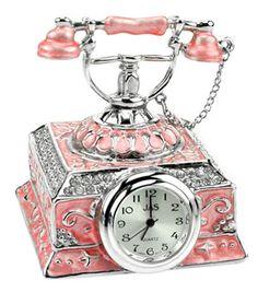 Pink Enamel Phone Miniature Clock Pink Love, Pretty In Pink, Tick Tock Clock, Antique Phone, Unusual Clocks, Radios, Steampunk Clock, Vintage Phones, Fru Fru