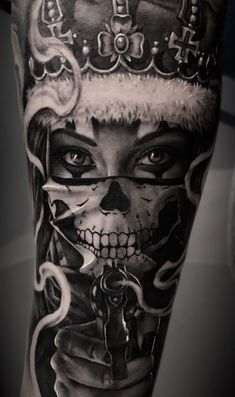 Celebrate life and death with these awesome day of dead tattoos, . - Celebrate life and death with these awesome Day of Dead Tattoos, - Skull Girl Tattoo, Skull Tattoos, Rose Tattoos, Leg Tattoos, Body Art Tattoos, Tattoos For Guys, Ocean Tattoos, Color Tattoos, Floral Tattoos