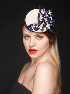 Shirley - double crowned suede floral headpiece / fascinator in blue and natural. Spring Summer 2013 on Etsy, $732.20 AUD