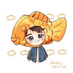 BungeOngpang💜 Cr: on pict Ong Seongwoo, Chibi, Pikachu, Korea, Fan Art, Wallpaper, Drawings, Drawing Ideas, Cute